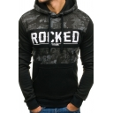 Simple ROCKED Letter Print Camo Patchwork Long Sleeve Fitted Drawstring Hoodie
