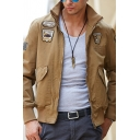 Mens Street Fashion Plain Eagle Applique Long Sleeve Zip Placket Slim Fit Bomber Jacket
