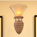 Amber Glass Bell Wall Mounted Lamp Vintage Style 1 Head Bedroom Wall Light Sconce in Gold