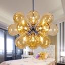 Bubble Hanging Light Fixture Modernism Cognac Glass 18 Heads Chandelier Lighting