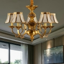 Gold Trumpet Hanging Chandelier Colony Frosted Glass 5/6/8 Bulbs Pendant Light Kit with Metal Curved Arm