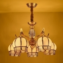 Domed Bedroom Chandelier Lighting Colonial Frosted Glass 5 Bulbs Gold Hanging Ceiling Light