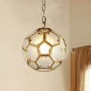 White Glass Globe Suspension Lamp Colonial 1 Head Bedroom Pendant Light Fixture