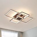 Frame Acrylic Ceiling Mounted Lighting Modern White/Coffee LED Flush Light Fixture in Warm/White Light, 21.5