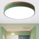 Drum Metal Ceiling Light Fixture Macaron Green LED Flush Mount Lamp with Acrylic Diffuser, 12