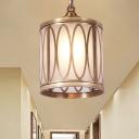 1 Bulb Sandblasted Glass Pendulum Light Traditional Brass Oval/Circle Corridor Suspension Pendant