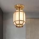 Brass 1 Head Semi Flush Light Traditional Sandblasted Glass Lantern Ceiling Fixture for Hallway