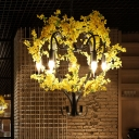 Candle Restaurant Pendant Chandelier Traditional Iron 5 Heads Black Hanging Ceiling Light with Artificial Flower