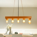Bubble Pendant Light Modern Wood 5 Lights Beige Island Light Fixture for Dining Room