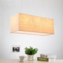 3 Lights Dining Room Island Lamp Contemporary Flaxen Pendant Chandelier with Rectangle Fabric Shade