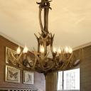 9 Heads Branch Hanging Chandelier Rustic Resin Ceiling Suspension Lamp in Brown