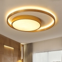 Round Metal Ceiling Lamp Contemporary Gold 16