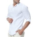 Mens Simple Fashion Plain Long Sleeve Button Front Loose Fit Linen Shirt