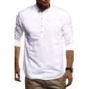 Mens Leisure Plain Long Sleeve Arc Hem Half Button Closure Relaxed Linen Shirt