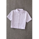 Cute White Short Sleeve Peter-Pan Collar Neck Button Front Ruched Slim Fit Crop Shirt for Girls