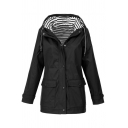 Trendy Girls' Long Sleeve Hooded Zip Button Front Drawstring Flap Pockets Stripe Liner Relaxed Trench Coat