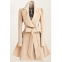 Dressy Elegant Long Sleeve Notch Collar Bow Tie Waist Pleated Plain Relaxed Wool Coat for Women