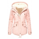 Casual Street Long Sleeve Hooded Zipper Button Front Flap Pockets Drawstring Shearling Lined Plain Relaxed Parka Coat for Girls