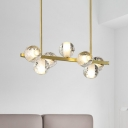 7 Heads Seeded Crystal Island Light Fixture Postmodern Gold Globe Dining Room Hanging Lamp Kit