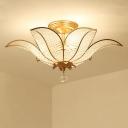 Gold Floral Ceiling Light Modernism 3 Lights Clear Beveled Crystal Bead Semi Flush Mount