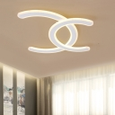 Contemporary Double C Shaped White Acrylic Flush Light Fixture LED Ceiling Lighting in Warm/White Light