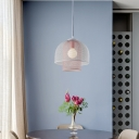 Mesh Dining Room Pendant Lighting Fixture Metal 1 Light Contemporary Ceiling Light in White and Blue/White and Pink