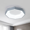 Octagon Flush Mount Light Simple Style Metal Gray/White LED Ceiling Fixture in Warm/White Light, 12