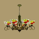 Stain Glass Antique Brass Chandelier Lighting Flower 3/6/8 Lights Mediterranean Pendant Lamp