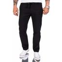 Mens Trendy Plain Flap Pocket Back Loose Fit Mid-rised Linen Casual Pants