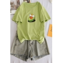 Women's Chic Simple Short Sleeve Crew Neck Avocado Printed Relaxed T Shirt