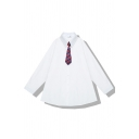 Girls' Preppy Looks Long Sleeve Lapel Neck Button Down Oversize White Shirt with Striped Tie