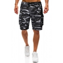 Black Camouflage Pattern Side Flap Pocket Drawstring Waist Straight Fit Cargo Shorts