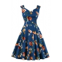 Pretty Women's Sleeveless V-Neck Floral Patterned Zipper Side Ruched Knee Length Pleated Flared Dress in Blue