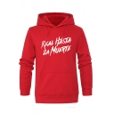 Funny Letter REAL HASTA LA MUERTE Long Sleeve Fitted Slim Red Pullover Hoodie