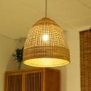 Domed Indoor Pendant Lighting Fixture Bamboo 1 Light Asia Hanging Lamp Kit in Beige