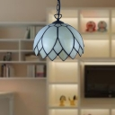 Beige Glass Flower Suspension Lamp Tiffany 1 Light Black Ceiling Pendant Light for Kitchen