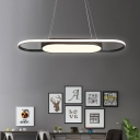 Black/White Linear Ceiling Hanging Light Modern Simple Metal Chandelier with Acrylic Diffuser
