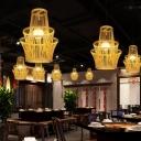 Geometric Bamboo Ceiling Pendant Lamp Modern 1 Light Beige Down Lighting for Living Room