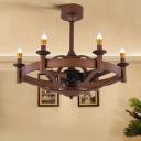 6 Lights Metal Ceiling Fan Lighting Vintage Brown Candle Restaurant Semi Flush Light Fixture
