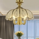5 Bulbs Scalloped Ceiling Light Fixture Colonial Brass Satin Opal Glass Semi Flush Mount Lighting for Living Room