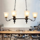 Traditional Bell Island Pendant 6 Heads Ivory Glass Suspended Lighting Fixture in Black for Living Room