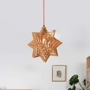 1 Bulb Bedroom Hanging Light Chinese Beige Ceiling Suspension Lamp with Star Wood Shade