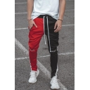 Trendy Letter Printed Drawstring Waist Colorblock Trousers Workout Pants for Men