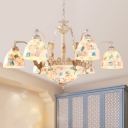 Tiffany Mosaic Chandelier 3/5/9 Lights Stained Art Glass Pendant Lighting Fixture in White