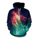 3D Galaxy Starry Sky Digital Print Long Sleeve Relaxed Fit Unisex Hoodie