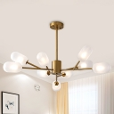 Pill Capsule Chandelier Lamp Contemporary Forsted Glass 9 Heads Gold Ceiling Hanging Light
