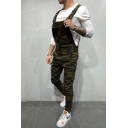 Hot Popular Army Green Camo Printed Skinny Fit Overall Jeans Denim Coveralls