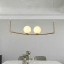 Frosted White Glass Globe Island Lighting Modernism 2 Heads Ceiling Hanging Light in Gold