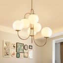 Gold 6 Bulbs Hanging Chandelier Modernism Sphere Ceiling Pendant Light with Opal Frosted Glass Shade