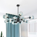 Blue Dimpled Blown Glass Cup Chandelier Ligting Modernism 12 Heads Hanging Ceiling Light